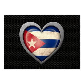 Cuban Heart Flag Steel Mesh Effect Large Business Card