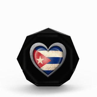 Cuban Heart Flag with Metal Effect Award