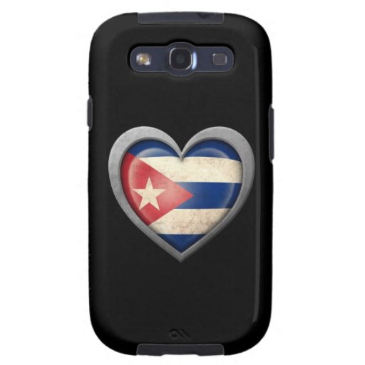 Cuban Heart Flag with Metal Effect Galaxy SIII Cases