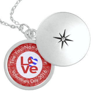 Cuban LOVE White on Red Locket Necklace
