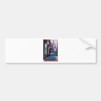 Cuban Oldtimer Street Scene in Havana Cuba Bumper Sticker