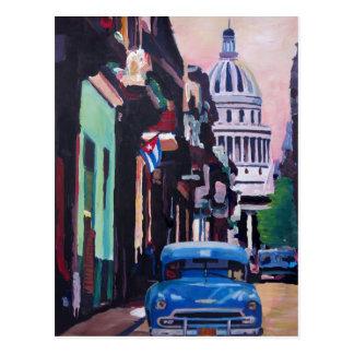 Cuban Oldtimer Street Scene in Havana Cuba Postcard