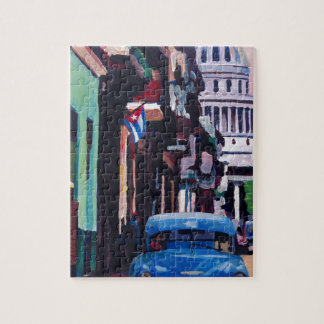 Cuban Oldtimer Street Scene in Havana Cuba Jigsaw Puzzle