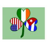 Cuban Shamrock Green Background Postcard