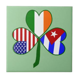 Cuban Shamrock Green Background Tile