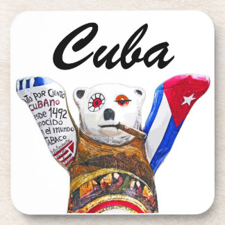 Cuban Teddy Bear with Cigar, White Back(pst) Drink Coaster