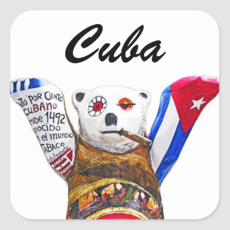 Cuban Teddy Bear with Cigar, White Back(pst) Square Sticker