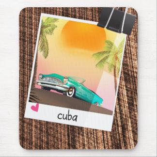 Cuban vintage car photo travel poster. mouse pad