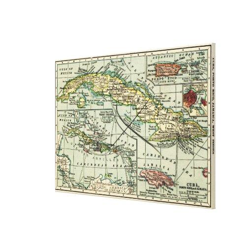 CubaPanoramic MapCuba Lienzo Envuelto Para Galerías