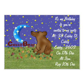 Cubby Bear 5x7 Paper Invitation Card