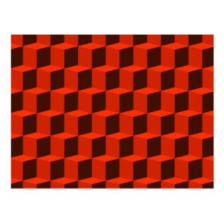 Cube 3 Dimensional 3D Pattern Design Postcard