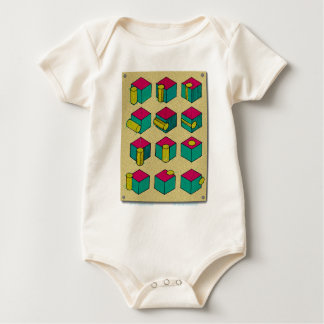Cube and Cylinder Study Baby Bodysuit
