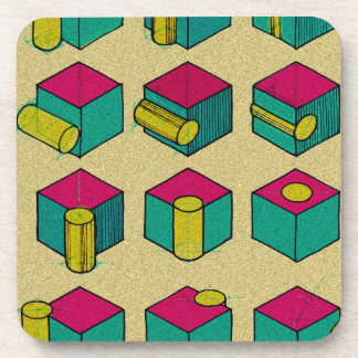 Cube and Cylinder Study Beverage Coaster