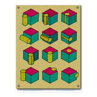 Cube and Cylinder Study Postcard