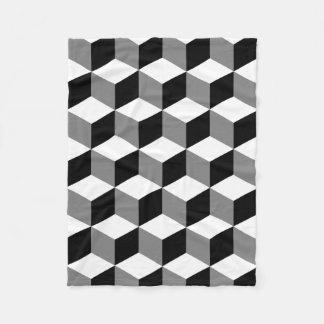Cube Big Pattern Black White & Grey Fleece Blanket