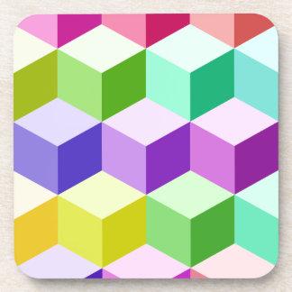 Cube Big Pattern Multicolored Drink Coaster