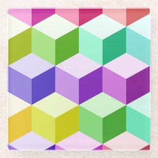 Cube Big Pattern Multicolored Glass Coaster