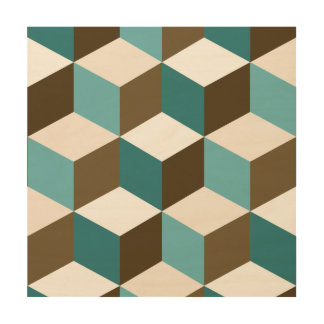Cube Big Ptn Teals Brown Cream & White Wood Wall Decor