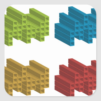 Cube composition square sticker