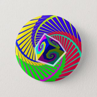 Cube Floating Over a Rainbow Spiral Staircase Button