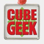 Cube Geek v2 Square Metal Christmas Ornament