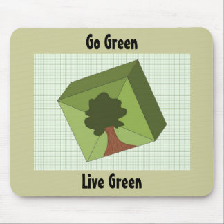 Cube Green Tree - Go Green Mouse Pad