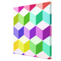 Cube Large Pattern Multicolored Canvas Print