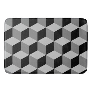 Cube Pattern Black & Greys Bath Mat