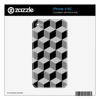 Cube Pattern Black & Greys Skin For The iPhone 4