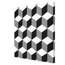 Cube Pattern Black White & Grey Canvas Print