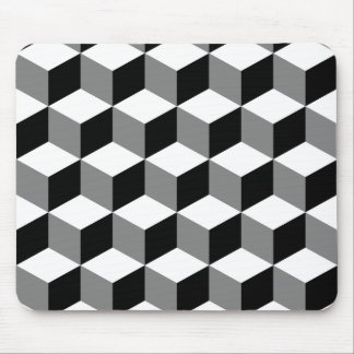 Cube Pattern Black White & Grey Mouse Pad