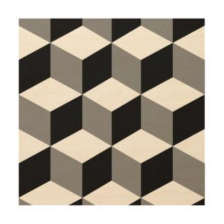 Optical illusion wood wall art zazzle - Cube wall decor ...