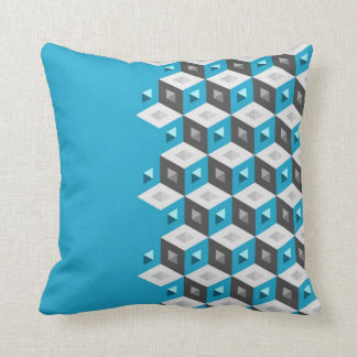 Cube Pattern Illusion Duo-Tone Aqua Coal Pillow