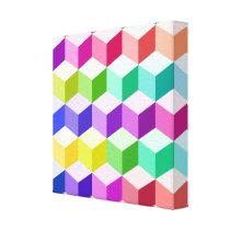 Cube Pattern Multicolored Canvas Print