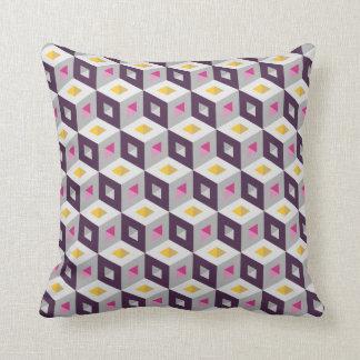 Cube Pattern Optical Illusion Purple Grey Pillow