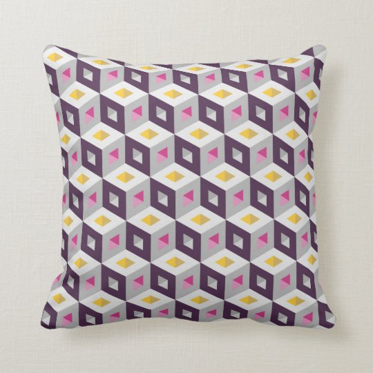 Cube Pattern Optical Illusion Purple Grey Pillow
