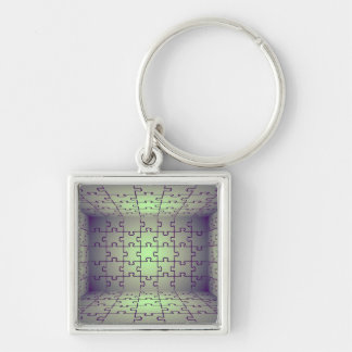 Cube perspective made of puzzles Silver-Colored square keychain
