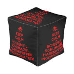 [Skull crossed bones] keep calm and schlemiel, schlimazel, hasenpfeffer incorporated!  Cube Pouf