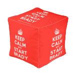 [Crown] keep calm and start brady  Cube Pouf