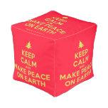 [Xmas tree] keep calm and make peace on earth  Cube Pouf