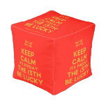 [UK Flag] keep calm its friday the 13th be lucky  Cube Pouf