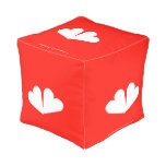 [Two hearts]  Cube Pouf