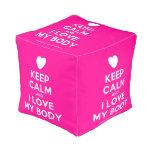 [Love heart] keep calm and i love my body  Cube Pouf