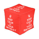 [Cupcake] keep calm its your birthday  Cube Pouf
