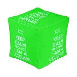 [UK Flag] keep calm because i am a lesbian  Cube Pouf