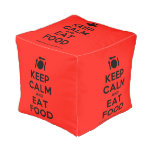 [Cutlery and plate] keep calm and eat food  Cube Pouf