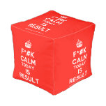 [Crown] f*#k calm today is result  Cube Pouf