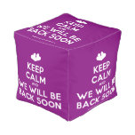 [Two hearts] keep calm and we will be back soon  Cube Pouf