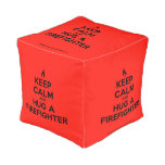 [Campfire] keep calm and hug a firefighter  Cube Pouf
