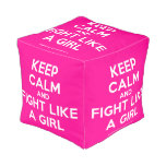 keep calm and fight like a girl  Cube Pouf